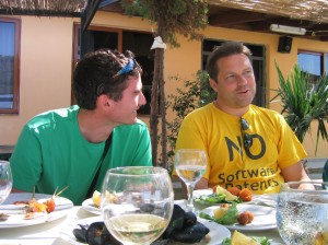 me and Mårten Mickos having seafood in Vlore Albania